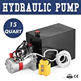 VEVOR 12V/DC Hydraulic Pump 15 Quart/ 3.9 Gallon Double Acting Metal Reservoir Hydraulic Pump Unit Remotely Controlled for Dump Trailer (15 Quart ,Double Acting )