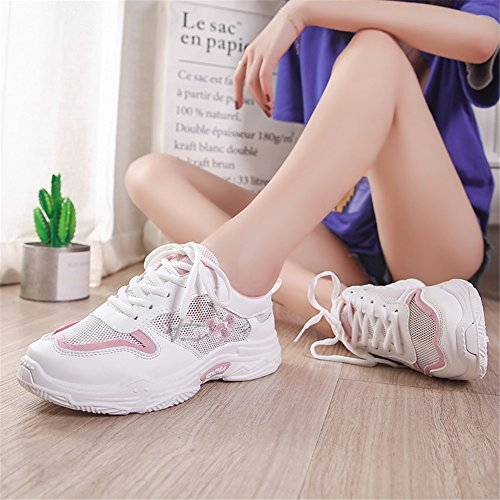 Lace Fall up Soles for Shopping Toe Breathable Women's Sneakers Running Light Flat Shoes Heel Tulle A Comfort Spring Shoes Round Dating Casual Knit Sneakers Jiang If7pw