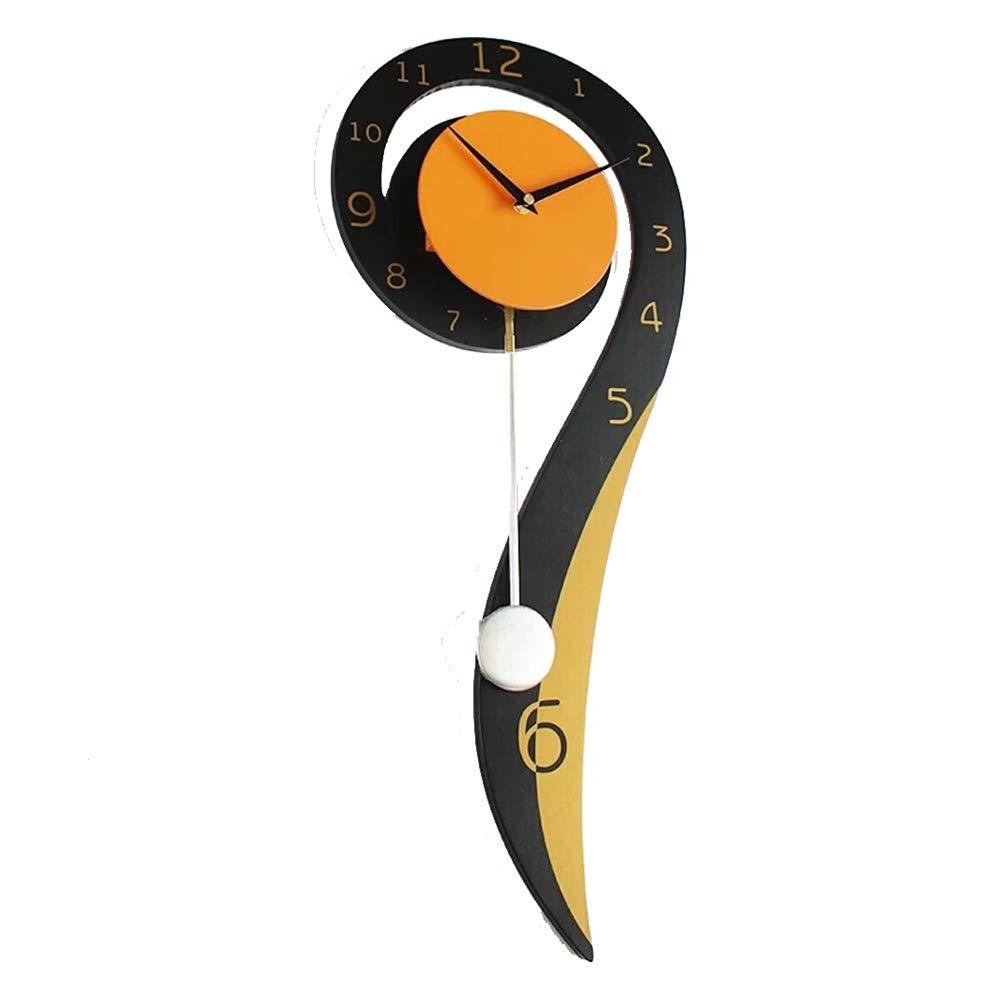 HEDDK Pendeluhr,Metallic Schwarz Orange Große Sweep Sekunden Stillen Uhren,Geeignet Für Schlafzimmer Wohnzimmer Home Restaurant Büro Verwenden