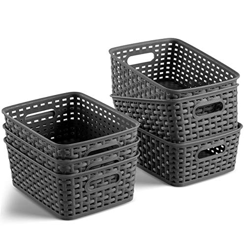 Set of 6 Plastic Storage Baskets – Small Pantry Organizer Basket Bins – Household Organizers with Cutout Handles for…