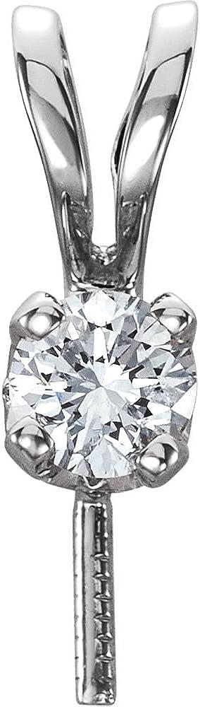 14K White Gold Diamond Semi-set Pendant for Pearl