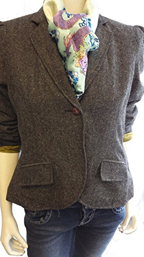 Maxim's Collection Ladies Classic Wool Blend Tweed Blazer Jacket with Faux Suede Elbow for sale