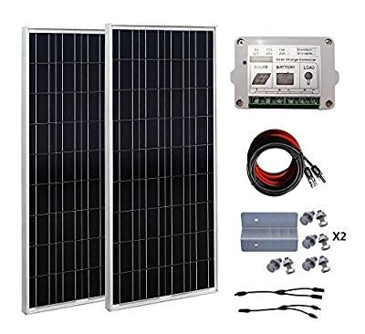 ECO-WORTHY 200 Watt (2pcs 100 Watt) 12V Solar Panel Kit + 15A Charge Controller for 12 Volt Off Grid Battery System