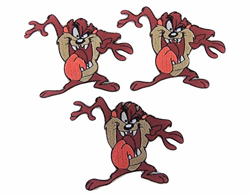(Looney Tunes Series Taz with Tongue Out Figure Iron On Patch Set of 3)