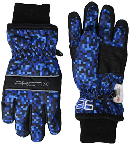 Arctix Youth Whiteout Gloves, Ice Block Print Navy, Small
