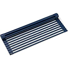 Kraus KRM-11DB Multipurpose Over Sink Roll-Up Dish Drying Rack, Dark Blue