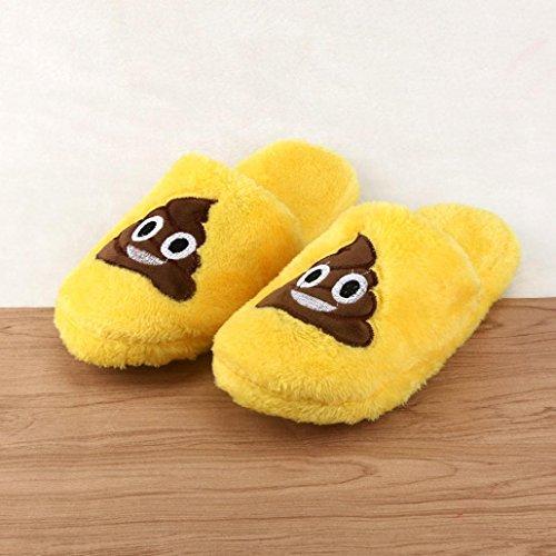 scarpe Pantofola caldo giallo Unisex Donna emoji morbido imbottito C domestico pantofole intimo carino feiXIANG cartoon gr70qg