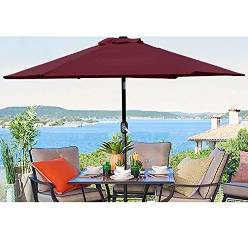 Blissun 7.5 ft Patio Umbrella, Yard Umbrella Push Button Tilt Crank(Red) by Blissun (Image #5)