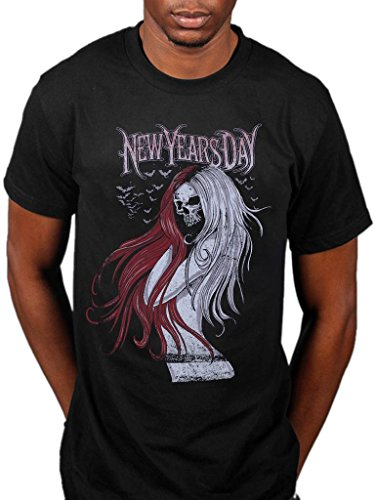 Official New Years Day Long Hair Skull T-Shirt Black ()