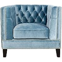 Pasargad Victoria Collection Blue Velvet Armchair