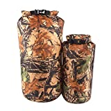 DeemoShop Outdoor 2 Pieces 15L & 8L Camo Waterproof Dry Sack Bag Travel Camping Climbing Hiking Kayak Canoe Inflatable Boat Accessory