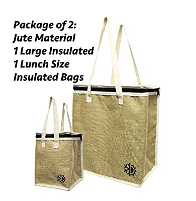2 Piece Earthwise Large & Small Insulated Reusable Grocery Shopping Bag Cooler w/ Zippered Top