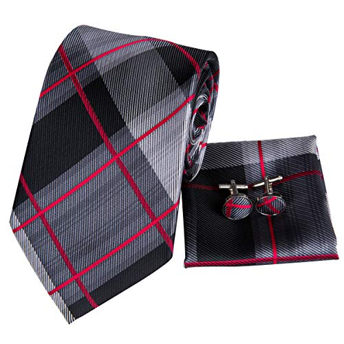 Hi-Tie Mens Black Grey Red Plaid Tie Pocket Square and Cufflinks Necktie Set