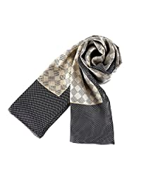JWSilk Long Charmeuse Satin Silk Scarf For Men (Gray Check)
