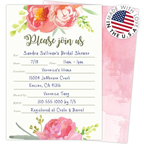 Pink-Vintage-Floral-Set-of-25-Fill-in-Invitations-and-Envelopes-for-Soirees-Bridal-Showers-Baby-Showers-Birthdays-Graduations-Dinner-Parties-Rehearsal-Dinners-and-Bachelorette-Parties
