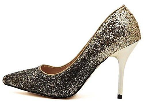 Idifu Womens Glitter Paillettes Chiuso Scarpe A Punta Slip On Pumps Tacchi A Spillo Scarpe Oro