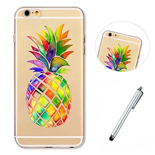 iphone6/6S Soft Shell Wakso Smartphone Accessory Soft Case TPU Gel Case Anti-Scratches Protective Skin Cover - Rainbow Pineapple + Metal Touch Pen
