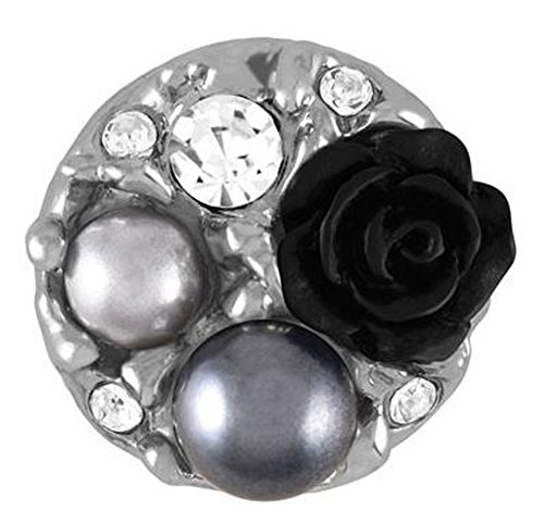 Ginger Snaps PEARL GARDEN - BLACK SN31-27 (Standard Size) Interchangeable Jewelry Snap Accessory