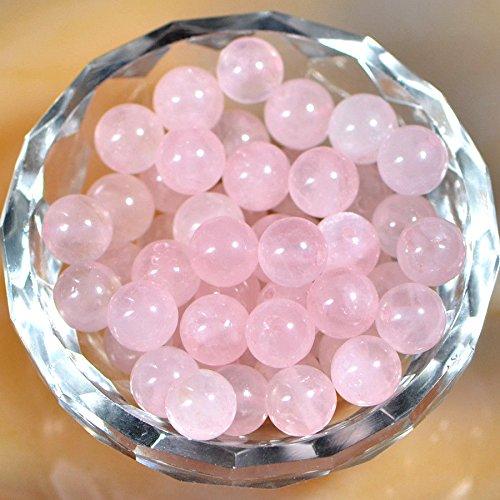 (AD Beads Natural Gemstone Round Spacer Loose Beads (8mm 50pcs, Rose Quartz))