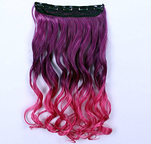 [Liroyal Long Curly Clip-on Hair Extension Wigs Synthetic Thick Hair Extensions Clip-on Hairpieces] (Wigs Au)