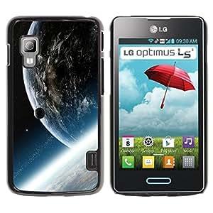 QCASE / LG Optimus L5 II Dual E455 E460 / nibiru planeta tierra ajena cosmos arte universo / Delgado Negro Plástico caso cubierta Shell Armor Funda Case Cover