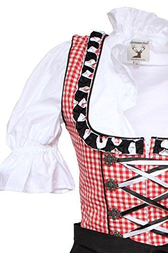 46–noir rouge Pièces alm623 Set Style Trachtenkleid 32 Chemisier 3 À Noir Rouge Alpenmärchen Tablier noir Taille vqcfSw
