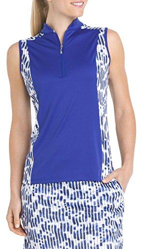 IZOD Golf Womens Retro Rectangles Polo Shirt Large Royal blue