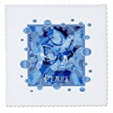 3dRose Taiche - Acrylic Painting - Peace Doves - Dove With Celtic Peace Text In Blue Tones - 18x18 inch quilt square (qs_273656_7)
