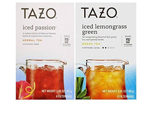 - Tazo Iced Tea Pitcher Bag Flavored Teas 2 Flavor Variety Bundle; (1) Tazo Iced Passion Caffeine-Free Herbal Tea, and (1) Tazo Iced Lemongrass Green Tea, 2.85-3.15 Oz. Ea.