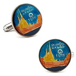 Hand Painted Thailand Coin Cufflinks Novelty 1 x 1in