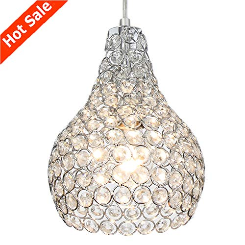 Popilion Ornate Chrome Crystal Ceiling Pendant Light,Adjustable Pendant Lighting with Crystal Lampshade for - Pendant Light 2 Crystal