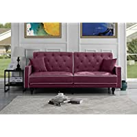 Mid Century Modern Two Tone Splitback Tufted Velvet Futon (Purple)