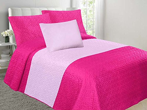 Allison 4-Piece Soft Velvet Touch Quilted Bedspread Multi-Color Bed Cover Set OVERSTOCK SALE! (Hot Pink & Rose, Full)