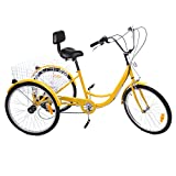 "PanelTech 24"" 6-Speed Adult Tricycle Trike 3-Wheel Bike Cruise Bike W/ Basket Yellow"