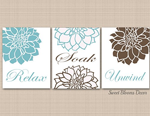 Amazon.com: Blue Brown Floral Bathroom Wall Art,Teal Brown Bathroom ...