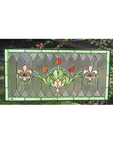 0a10ea062ef4 Tiffany Stained Glass Transom Window Panel Fleur De Lis 32