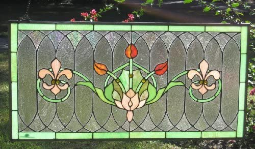 Tiffany Stained Glass Transom Window Panel Fleur De Lis 32 x 16