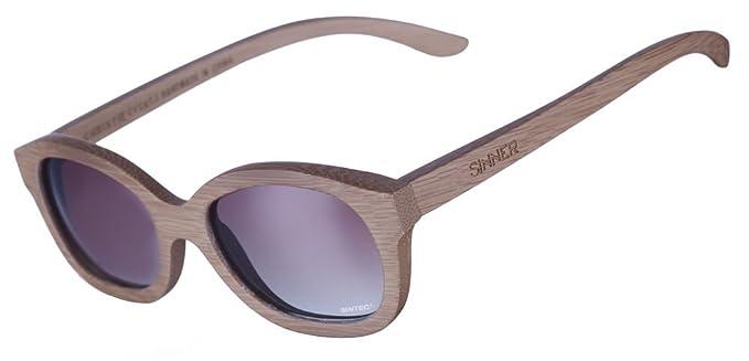 Sinner Unisex Sonnenbrille, Christie Bamboo Black, Smoke Grad Sintec, GR. One size (Herstellergröße: One Size), Schwarz