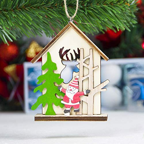 ERT Christmas Tree Decorations,Wood Slice DIY Hanging Ornament for Holiday Xmas Tree Deacorations,The Door Decor (4 Pcs Cabin)