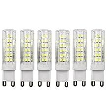 Dayker G9 LED Bulbs, 7W Replacement for 60 Watts Halogen G9 Bulb, Daylight White 6000K, 360 Degree LED G9 Corn Crystal Light for Livingroom Bedroom Lighting (6-Pack)