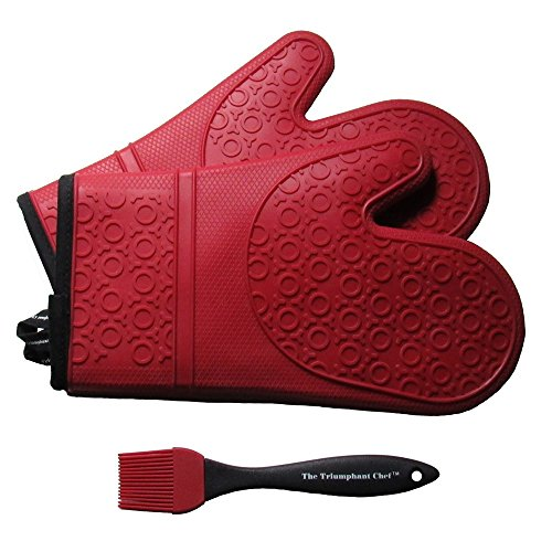 Chef Oven Mitt (Silicone Oven Mitts, 1 Pair (2 x Dark Red Mitt), Deluxe Quilted Liner, Bonus Brush)