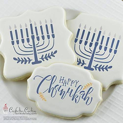 Hanukkah Cookie Stencils -Food Grade Stencils for Cake and Cookie Decorating - Menorah - Star of David-Festival of Lights - Set of 3 Reusable Stencils