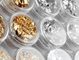 So Beauty 12 Bottles Gold Silver Foil Paillette Flake Nail Art DIY Decoration Acrylic UV Gel