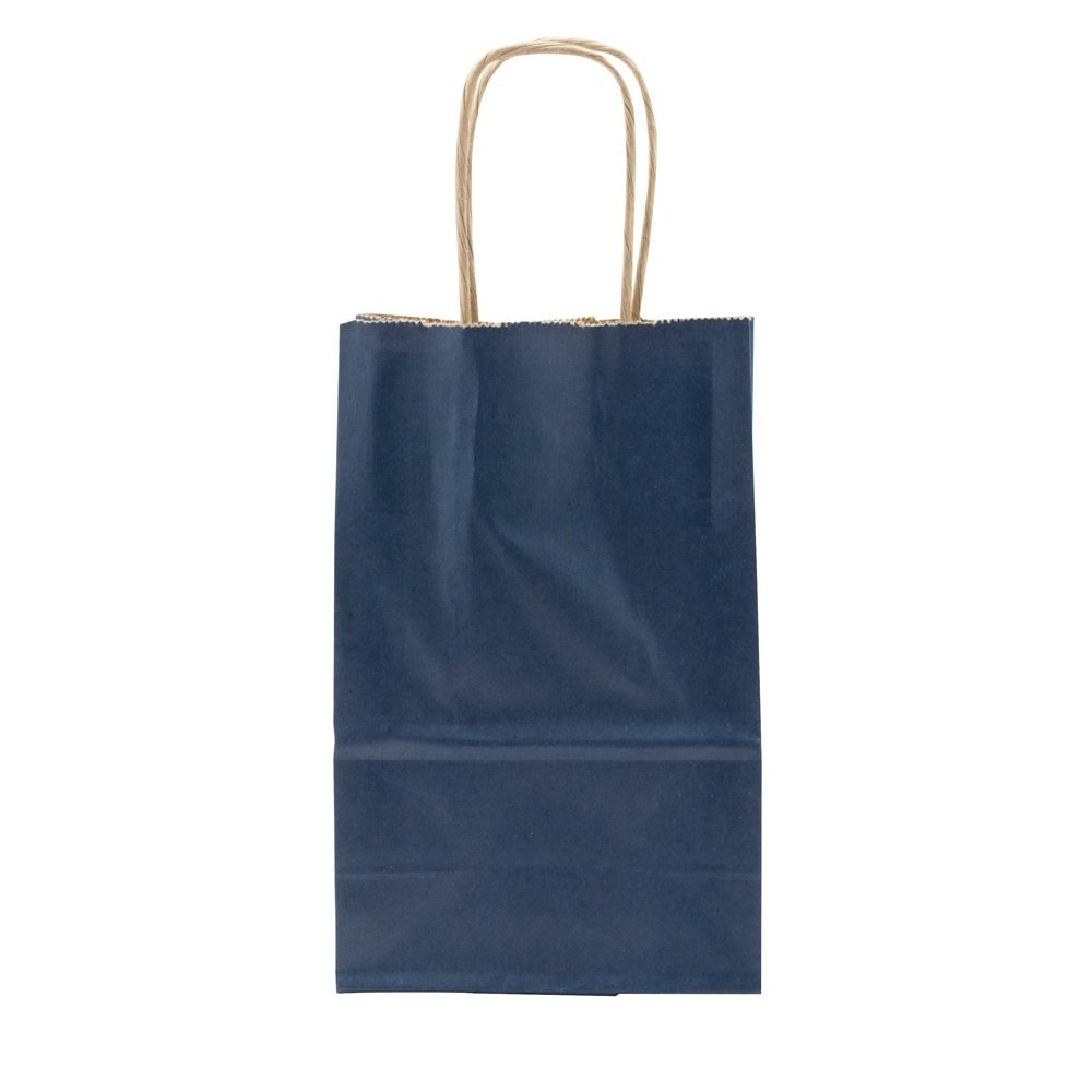 Small Blue Shopping Bag Measures 5.5'' long x 3.25'' wide x 8.375'' tall (Case of 250)