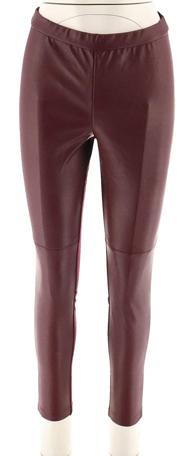 Halston Petite Faux Stretch Leather Ponte Leggings A294047