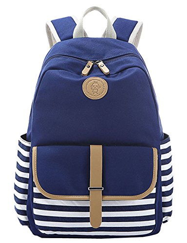 Greeniris mujer lona mochila linda colegio mochila para niña Azul