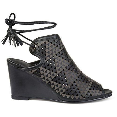 Brinley Co Womens Talbot Faux Leather Laser-Cut Peep-Toe Ankle Wrap Wedges Black em5G8ZpLJ
