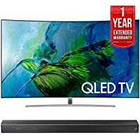 Samsung QN55Q8CAM Curved 55-Inch 4K Ultra HD Smart QLED TV (2017 Model) w/ Samsung HW-MS650/ZA Sound+ Premium Soundbar + 1 Year Extended Warranty