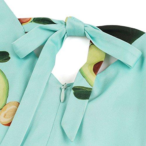 Senza Epoca Collo Stampato Killreal Altalena Maniche Partito Delle Avocado Da Donne Vestito verde Avocado V IqwTx0WaY