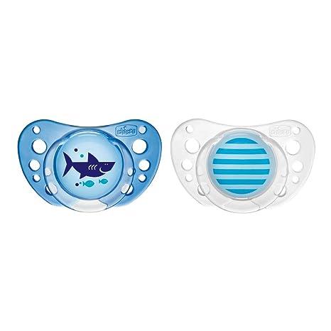 Chicco Physio Air - Pack de 2 chupetes de látex/caucho para 16-36 meses, color azul